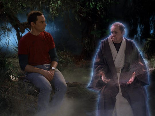 Arthur Jeffries (Bob Newhart), right, isn't exactly thrilled that Sheldon (Jim Parsons) has pulled him into his dream world in a scene from Thursday's episode of 'The Big Bang Theory.'