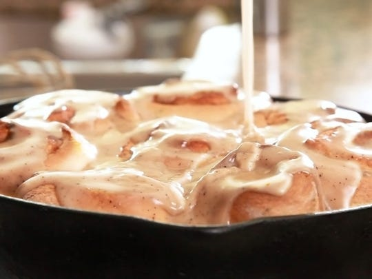 Jalapeno Cinnamon Rolls are infused with the pepper and topped with brown butter frosting.