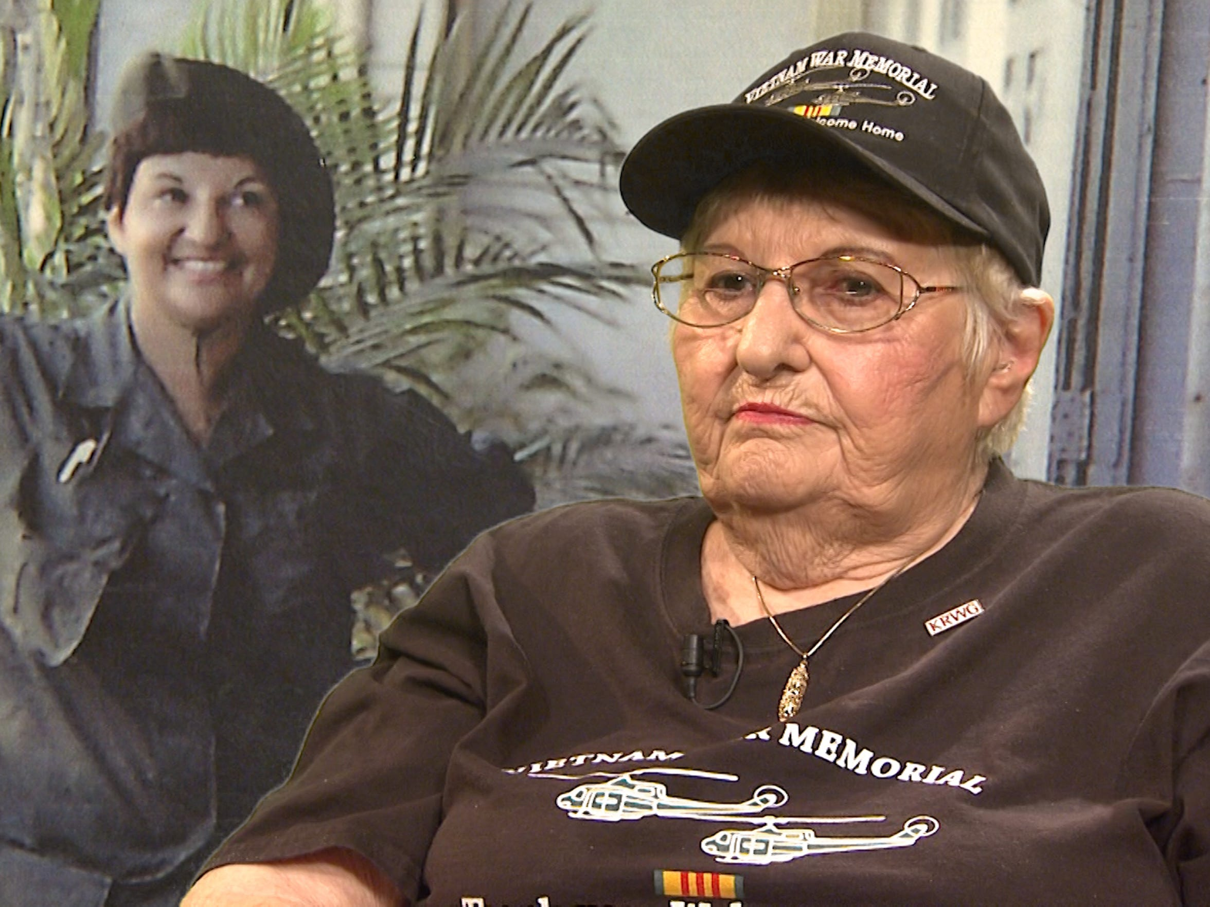 "Frances Williams was among the New Mexico Vietnam veterans interviewed for KRWG TV's ""Our Stories: Vietnam"" series in 2017. She appears next to a photo of herself taken in Vietnam in 1967."