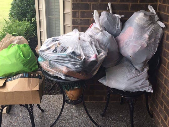 Sumner County residents left bags of shoes on their