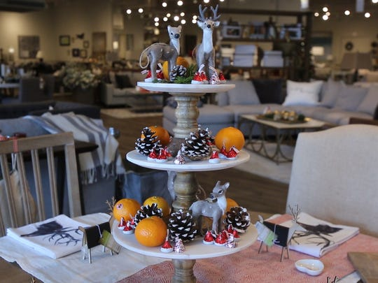 Repurpose tree ornaments as table decorations in this Christmas breakfast table idea