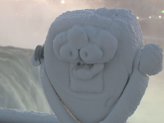 A WGRZ photo shows ice at Niagara Falls in December