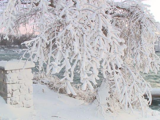 A photo from WGRZ in Buffalo shows the iced Niagara