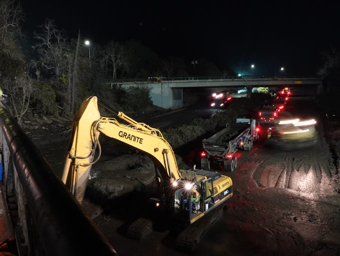 Night work on Highway 101 in Montecito continued Monday