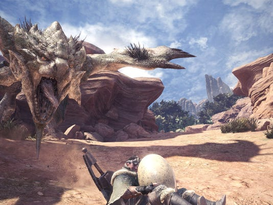 Stealing wyvern eggs and making a run for it in Monster Hunter World.