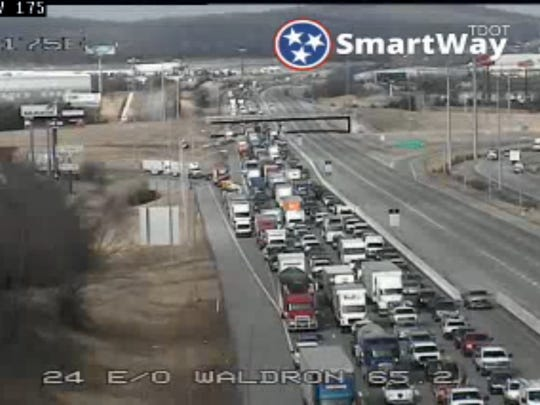 A multi-vehicle crash on I-24 at Sam Ridley Parkway has shut down traffic in both directions as emergency crews work the area.