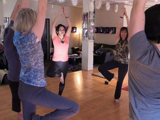 Swapna Venugopal attends a yoga class lead by Tao Porchon-Lynch,