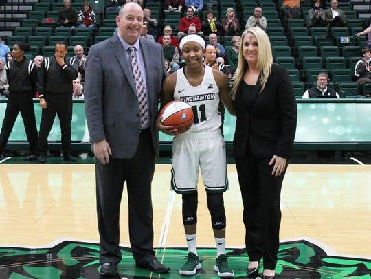 Binghamton University's Imani Watkins was honored before