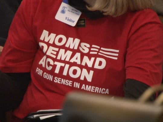 Supporters of Moms Demand Action, a national gun-control advocacy group, attended an Assembly Judiciary Committee hearing on gun legislation in large numbers on Feb. 28, 2018.