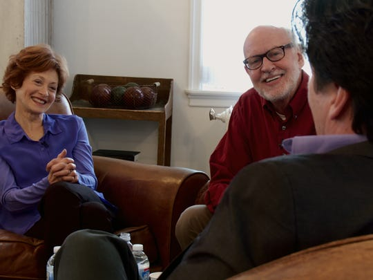 Muppet performers Fran Brill and Frank Oz listen to