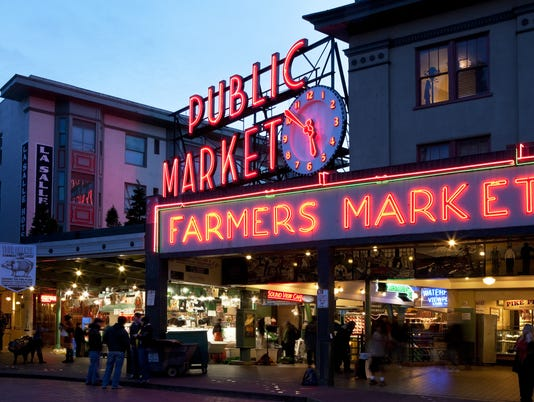 Pike Place Market in Seattle at Dusk
