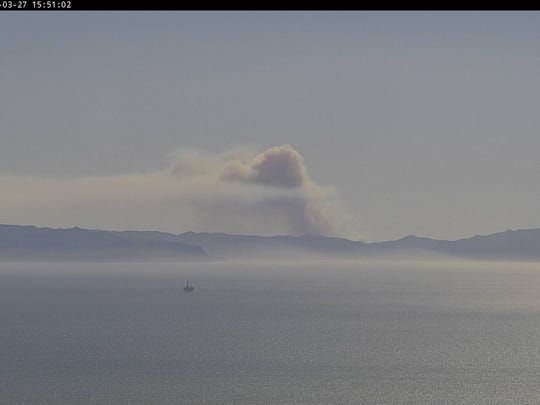 The smoke from the Santa Cruz Island fire was visible Tuesday afternoon on this camera at Hall Mountain that's operated by the Ventura County Sheriff's Office of Emergency Services.