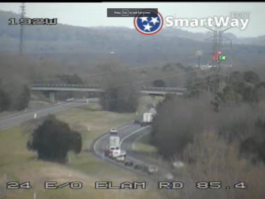 A traffic camera covering Interstate 24 eastbound at