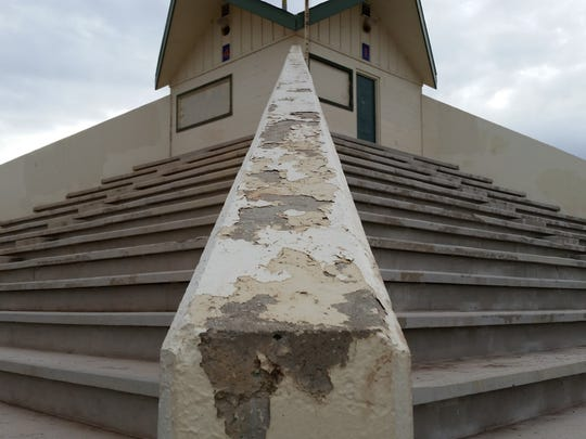 The pyramid at the Swope athletic fields before it was restored.