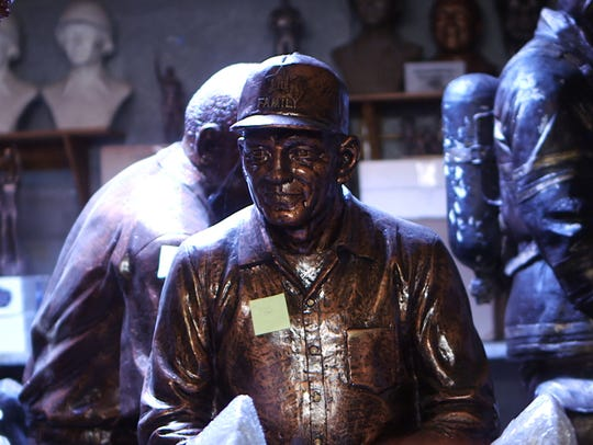 The statue of a Gold Star father in Brian Hanlon's studio. The bronze version is in the New Jersey Vietnam Veterans Memorial in Holmdel.
