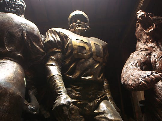 Philadelphia Eagles legend Chuck Bednarik is among the many statues inside sculptor Brian Hanlon's Toms River studio