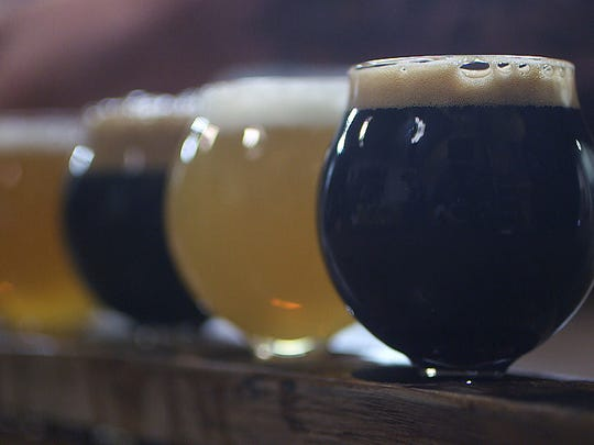 A flight of craft beer at Kane Brewing in Ocean