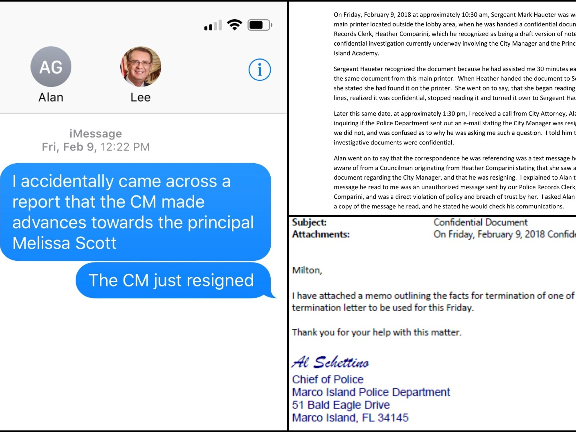 A termination letter for Marco Island police records clerk Heather Comparini was requested after it was suspected that she leaked information about the investigation into former City Manager Lee Niblock.