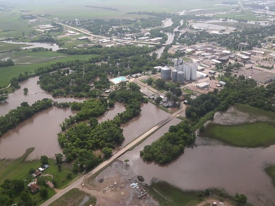 Flood waters from the Rock River surround the town of Rock Rapids on Wednesday, June 18, 2014.