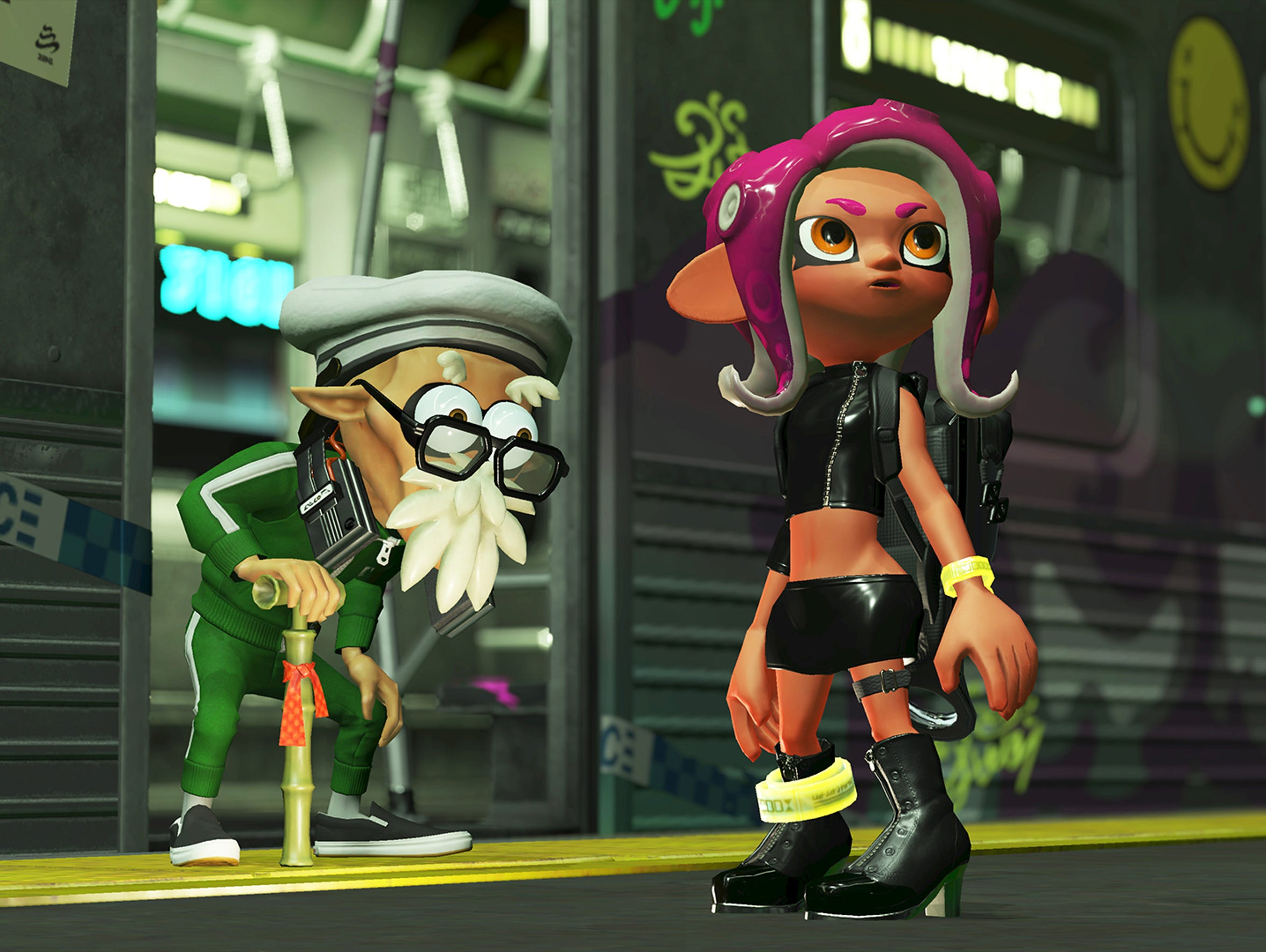 Agent 8 joins forces with Cap'n Cuttlefish in Splatoon