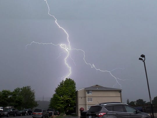 Lightning lights up the afternoon sky over Mahopac