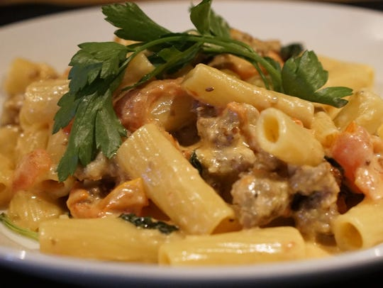 Co-owner Jessie Souza pointed to the Rigatoni & Italian