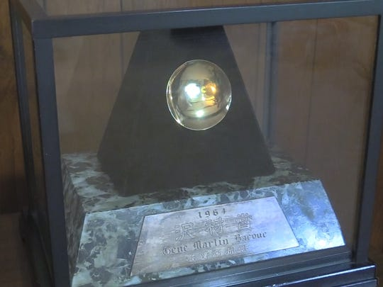 Gene Bacque's Sawamura Award is displayed at his home