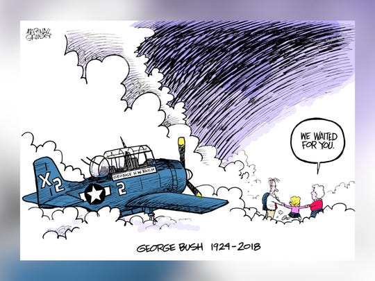 Cartoonist Marshall Ramsey of the (Jackson, Miss.) Clarion-Ledger drew this image after the death of George H.W. Bush. The cartoon show the former president flying his World War II Avenger aircraft into the clouds to join his wife Barbara, who passed away in April, and their young daughter Robin, who died from leukemia at age 3 in 1953.