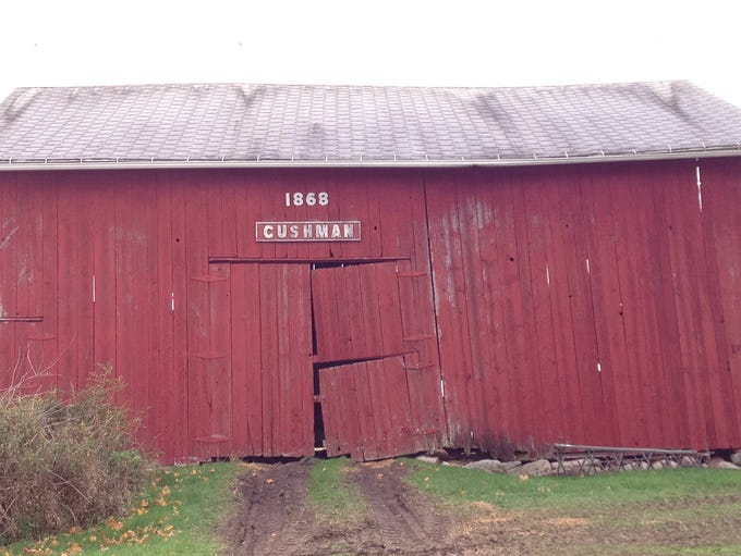 The 1868 Cushman barn on Clark Road in DeWitt Twp.