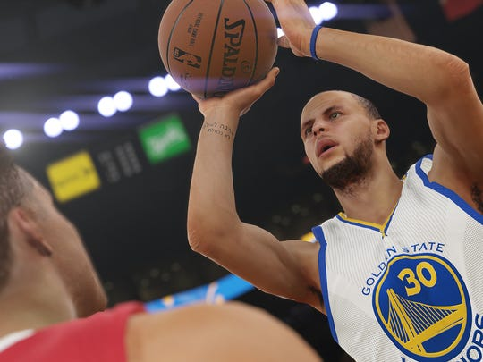 NBA 2K15's fine-tuned shooting mechanics allows players such as Stephen Curry to dominate beyond the arc.