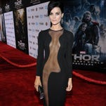 """Jaimie Alexander attends a premiere in Los Angeles. Here you can see clearly that the tattoos she wears in NBC's hit """"Blindspot"""" are not real."""
