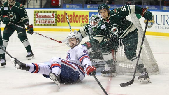 When he isn't knocked down, Brayden Irwin provides a big body in the deep slot on the Amerks power play.