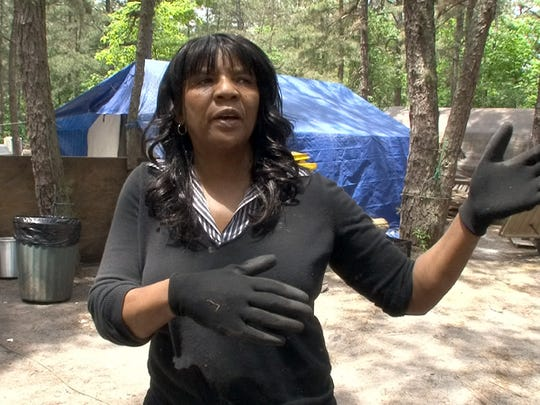 Sister Hanna talks about Tent City residents  Friday.