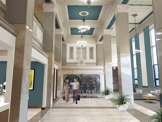 A rendering of Hotel Phillips' interior. Kelly Inns