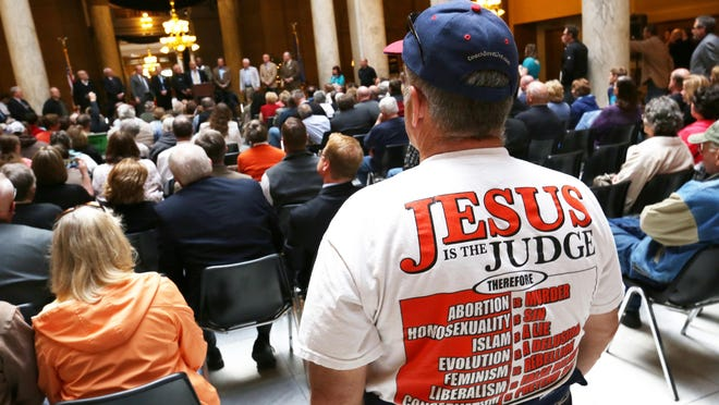 "More than 150 people attended an Indiana Pastors Alliance rally in the Statehouse on April 27 to show opposition to the Religious Freedom Restoration Act ""fix."""