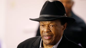 Former mayor and D.C. City Council member Marion Barry arrives at a media availability to endorse Mayor Vincent Gray's bid for re-election on Mar. 19, 2014.