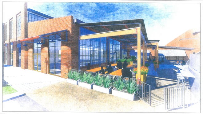 A rendering by the Powell Architecture + Building Studio shows outdoor seating for the restaurant's location at The Factory at Franklin.