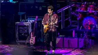 John Mayer sings the second song at the start of Dead & Company's concert at the Alpine Valley Music Theatre in East Troy Friday.