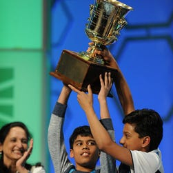 "Harshita Shet, 12, of White Plains, N.Y., works on the spelling of ""Stockholm"" in Round 3 of the 2016 Scripps National Spelling Bee in National Harbor, Md., on May 25, 2016."