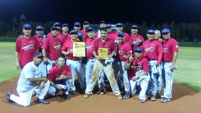 The Agat Cardinals, shown in this file photo, won the 2016 Budweiser Masters Baseball League title.