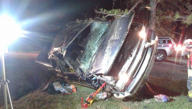 The vehicle driven by Edwin Taylor, 68, after it crashed on Shippensburg Road in Menallen Township Friday night.