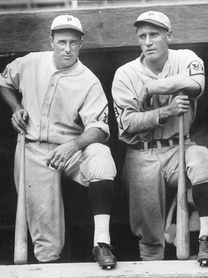 Philadelphia Phillies slugger Chuck Klein (right) hit 36 home runs and batted in 139 RBIs between 1929 and 1933. The player at left is unidentified.