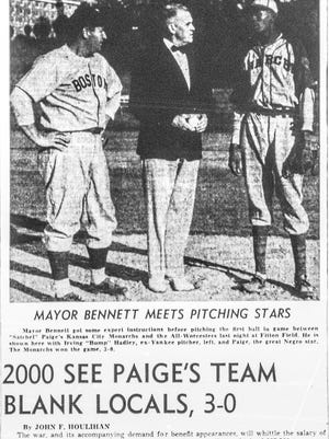 From left, Irving 'Bump' Hadley, Mayor Bennett and Satchel Paige are photographed before Mayor Bennett throws the first pitch in an exhibition game at Fitton Field Aug. 7, 1942. The photograph and story appeared on the sports page of the Aug. 8, 1942 Worcester Telegram.