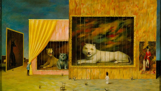 """""""The Circus or the Wild Beast"""" by Philip C. Curtis, 1960. Oil on masonite. From the exhibit """"The Ringmaster"""" at Mesa Arts Center."""