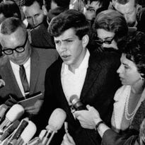 Frank Sinatra Jr. speaks at a news conference beside his mother, Nancy, in this Dec. 11, 1963, file photo after being safely released from his kidnappers. In 1998, Sinatra Jr. obtained a restraining order that prevents three men who kidnapped him from profiting from a movie about the crime. The court order temporarily prevents Columbia Pictures from paying Barry Keenan, Joseph Amsler and John Irwin, who were convicted of kidnapping Sinatra in 1963. Sinatra Jr. was kidnapped Dec. 8, 1963, from his Tahoe motel room.