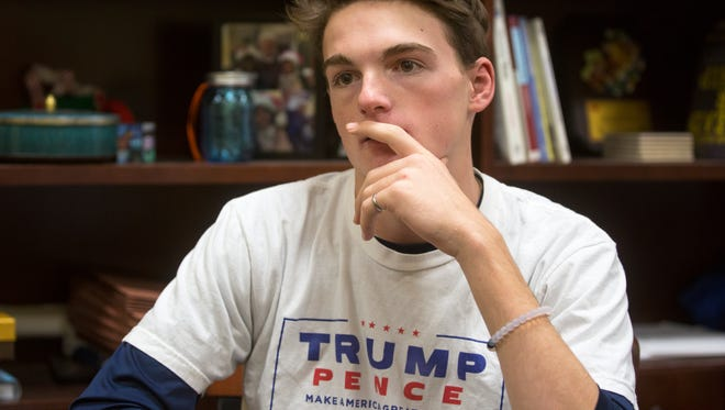 John Foster, 15, a sophomore at Walnut Hills High School, talked about the outcome of the presidential election between Hillary Clinton and Donald Trump. He said he's one of the few students at the school who openly supported Trump, a republican. He said though he differs politically with most of his classmates, it doesn't get in the way of them working together.