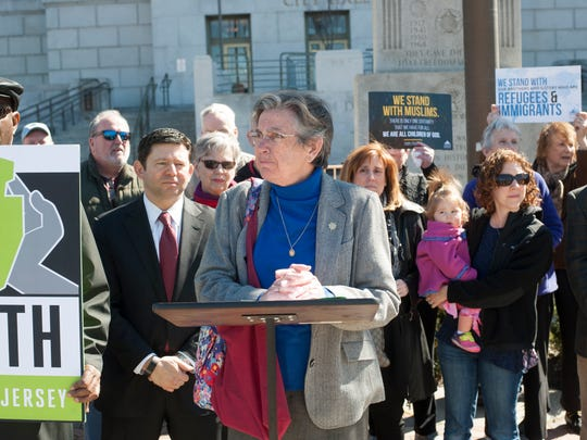 Sister Veronica Roche speaks at a Faith in New Jersey rally in support of undocumented immigrants in South Jersey.