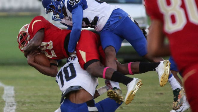 College of the Desert and San Bernardino Valley College football action on Saturday, October 21, 2017 in Palm Desert.