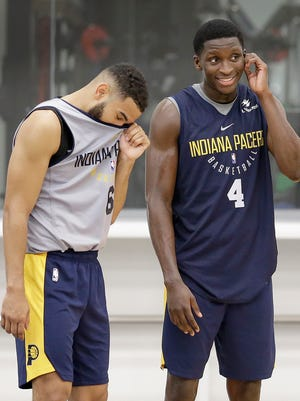 Indiana Pacers guard Victor Oladipo (4) shares a laugh with Cory Joseph (6) during Pacers practice at the St. Vincent Center on Tuesday, Sept. 26, 2017.