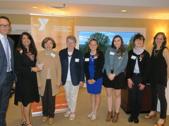 The Hunterdon County YMCA honored six volunteers at its 2017 Annual Recognition Event on May 9. (Left to right): Greg Visicaro, Aphrodite Fluke, Mary Lou Bost, Margaret Venditti, Ellis Stanton, Katherine Toms, Rachel Mead and Nicole Hepburn.